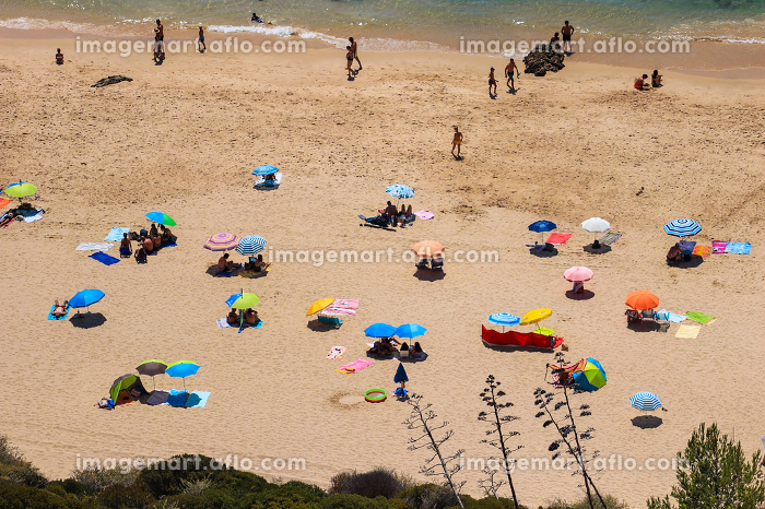 Aerial view from a Tropical beach with colorful umbrellas.の販売画像