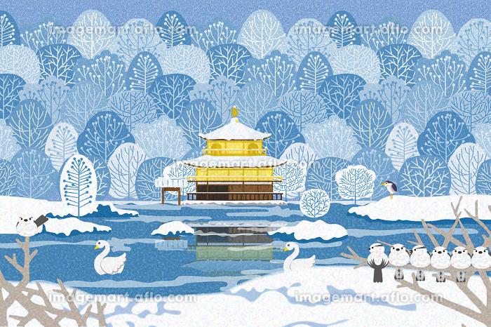 雪景色の金閣寺 イラストの販売画像