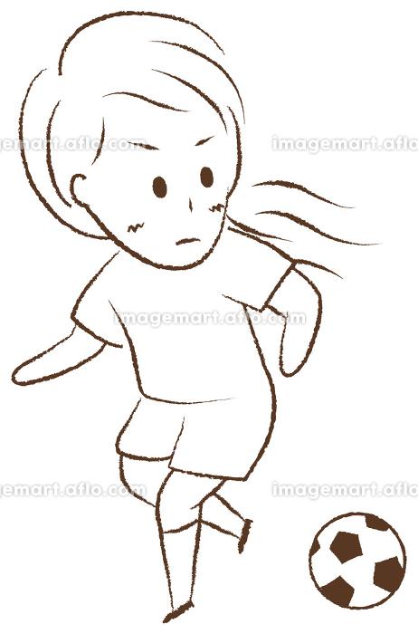 サッカーをする女の子 ドリブルの販売画像