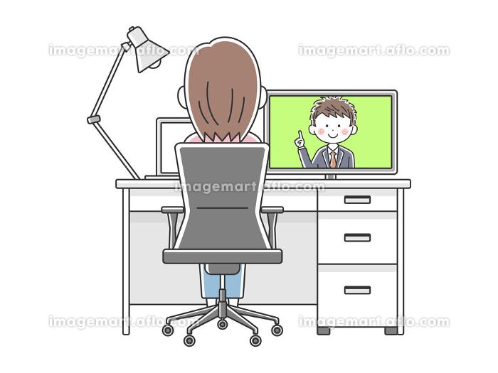 リモートワークでオンライン会議をする女性のイラストの販売画像