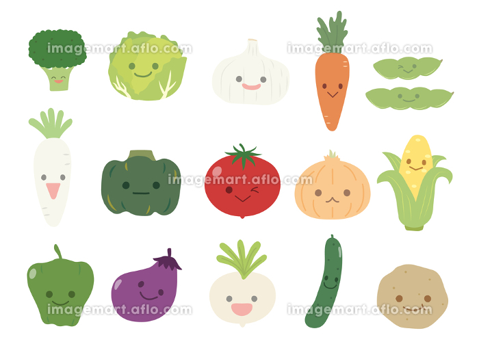 かわいい野菜のキャラクターイラストの販売画像