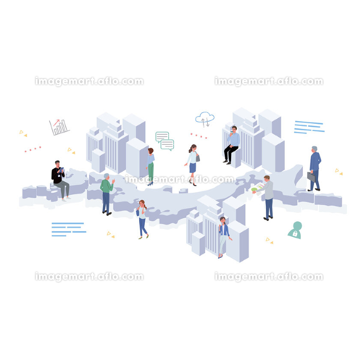 日本で働く人々 ビルとアイコンと人々 イラスト アイソメトリックの販売画像