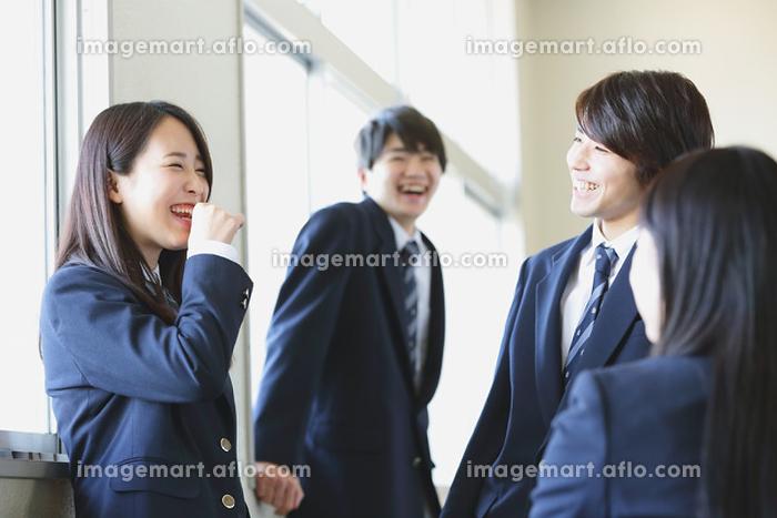 廊下で会話している高校生たちの販売画像