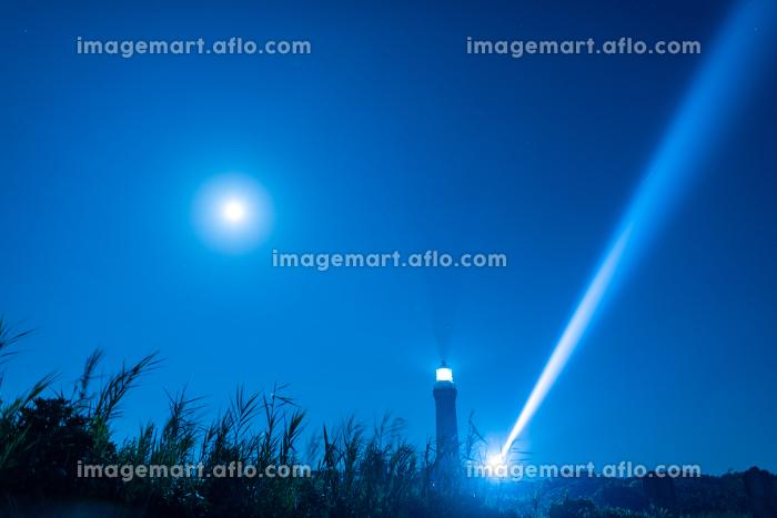夜の海を照らす角島灯台の販売画像