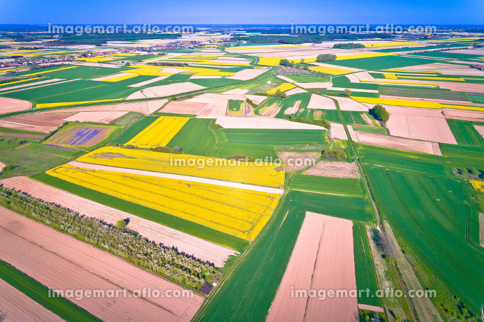 Agriculture layers of Podravina region aerial view