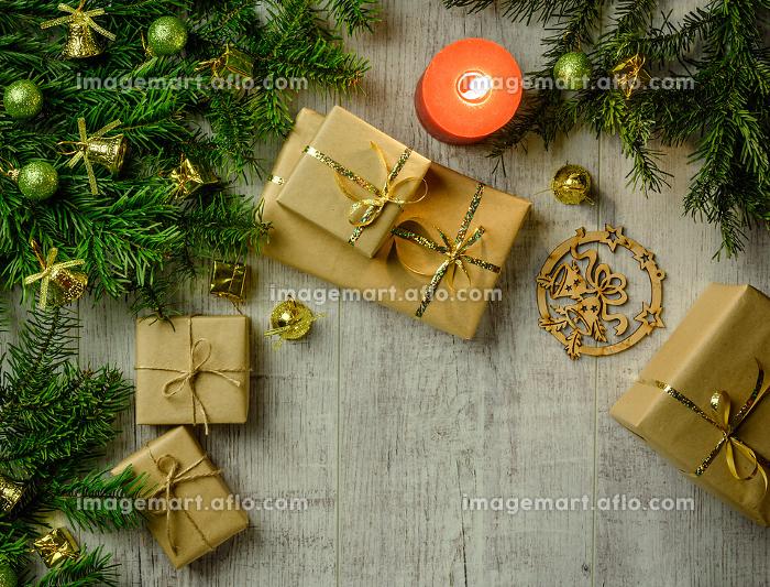Christmas festive card with fir branches and festive decor