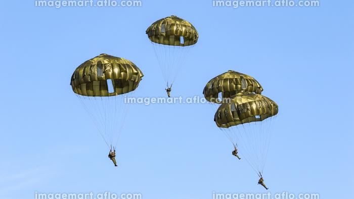 13式空挺傘パラシュートで降下する陸上自衛隊の空挺団(習志野市・千葉)の販売画像