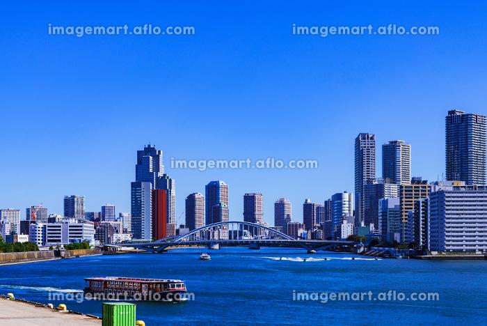 竹芝埠頭からみた隅田川と都内 【東京都の都市風景】の販売画像