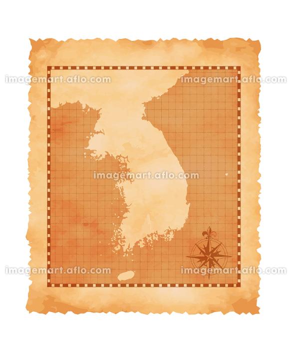 色褪せたボロボロの古地図ベクターイラスト / 韓国・朝鮮半島の販売画像