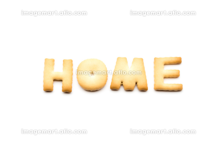 Word home cookie isolated on white backgroundの販売画像