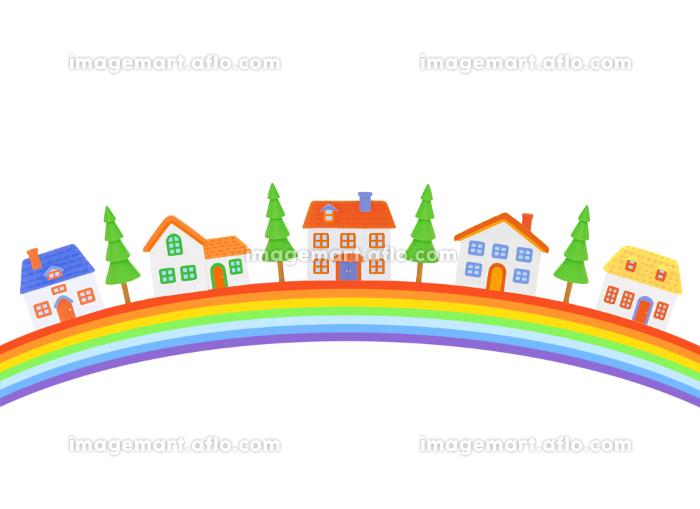 虹と家並みの販売画像