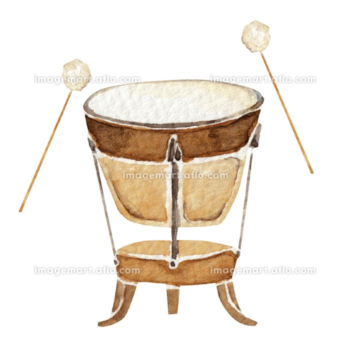 ティンパニ 楽器 オーケストラ 水彩 イラストの販売画像