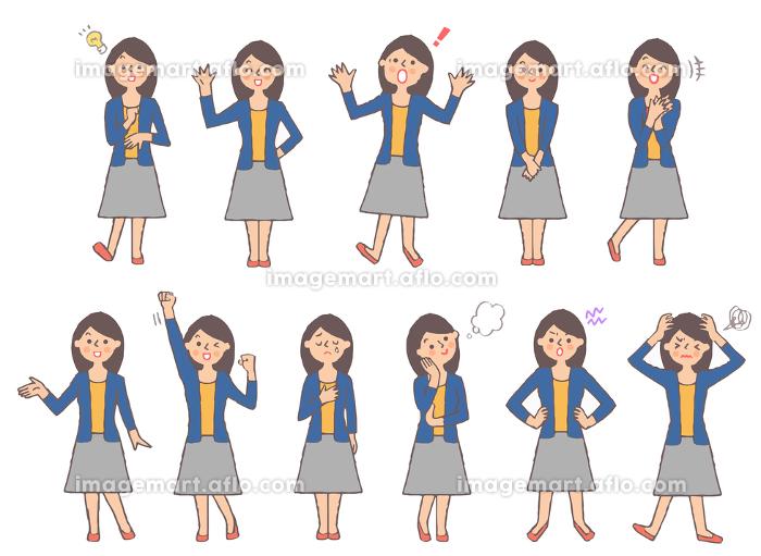 若い女性のさまざまな表情 全身 セットの販売画像