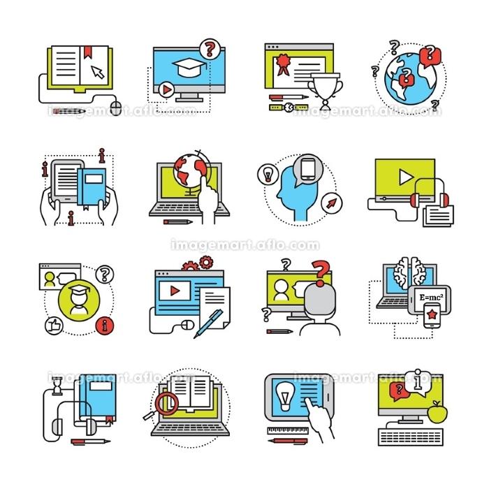 Online Education Flat Icon Set. Flat icon set on theme online education with laptop monitor phone and pad communication isolated vector illustrationの販売画像