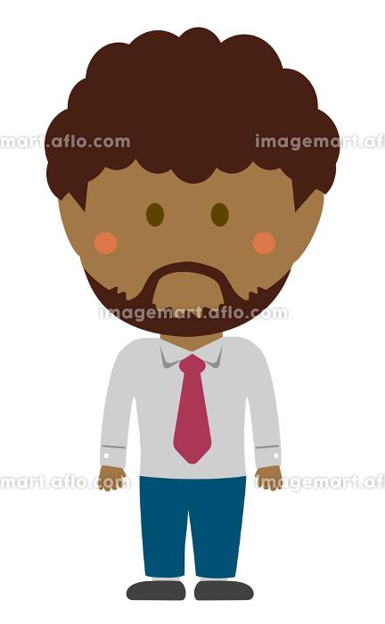 デフォルメ・二頭身 外人・黒人ビジネスマン 全身人物イラストの販売画像