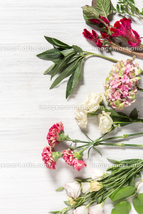 The flowers on white wooden backgroundの販売画像