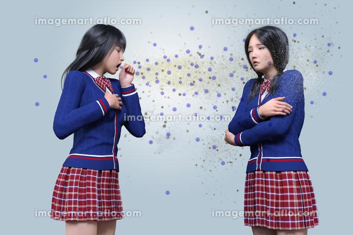 学生の女の子が咳をしてウイルスを撒き散らして違う子に感染させてしまう様子