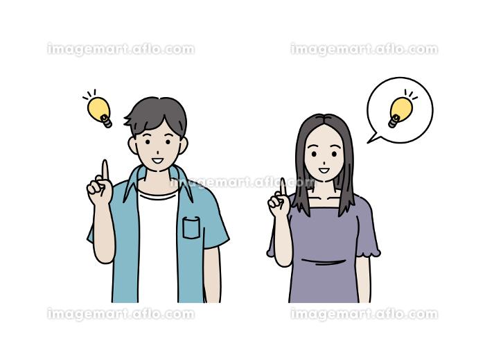 閃く アイデア 思いつく 解決 若い男女 カップル 若者 イラスト素材の販売画像