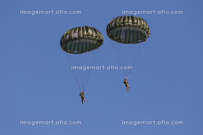 パラシュートで降下するアメリカ特殊部隊のグリーンベレー兵士(習志野市・千葉)の販売画像
