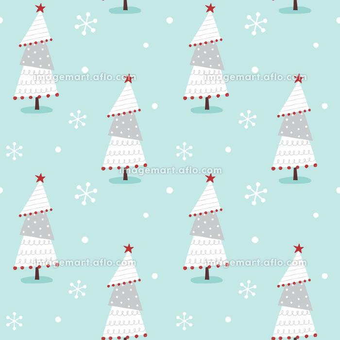 手描きのかわいいクリスマスツリーと雪のシームレスパターンの販売画像