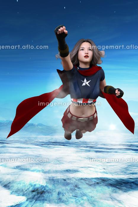 澄んだ空気の上空を飛行する胸に星マークのある女性ヒーローの販売画像