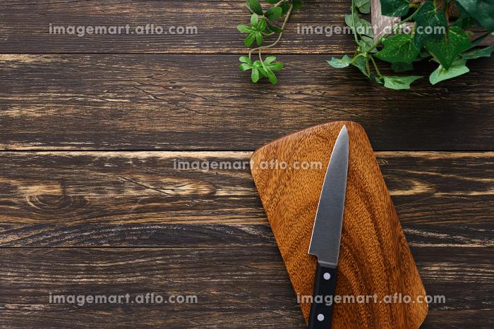 背景素材 包丁とまな板の販売画像