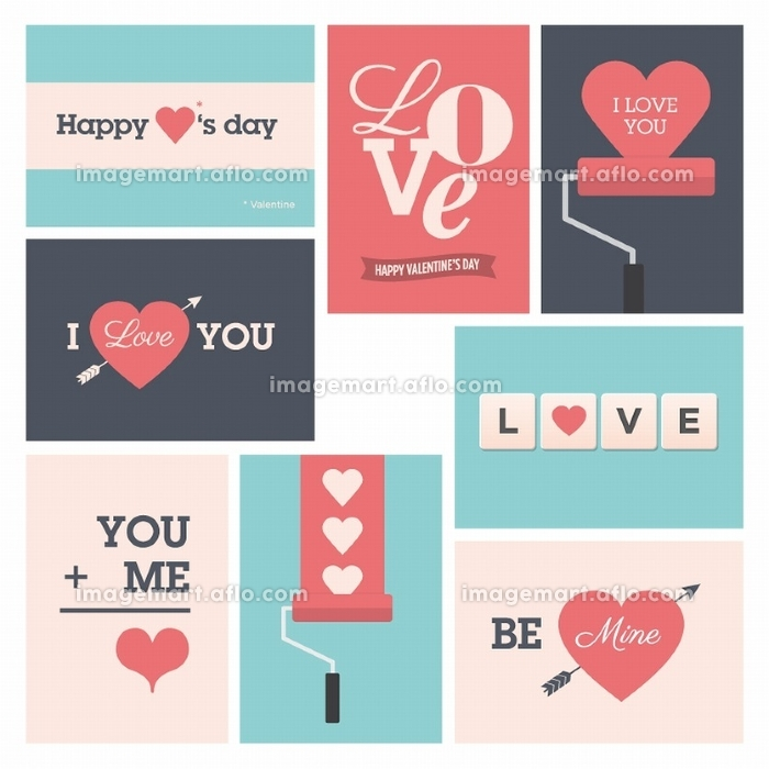 Set of valentine cards, i love you, happy valentine's day.