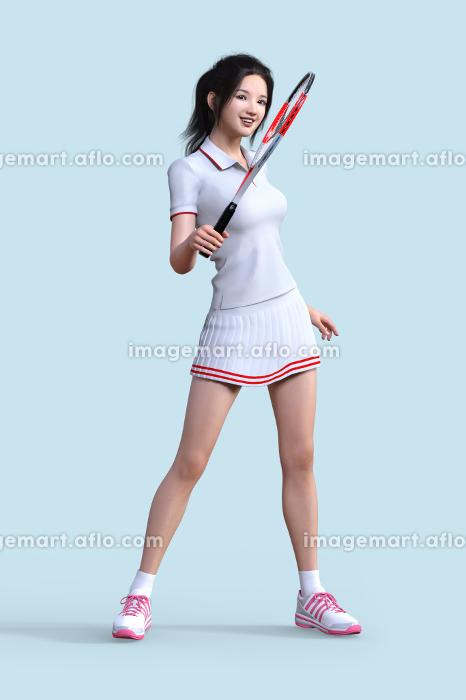 白いユニフォームを着た女性がテニスのラケットを持って立つの販売画像