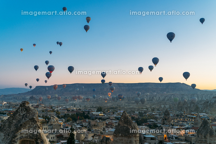 Dozens of hot air balloons are launching early morning in Cappadocia