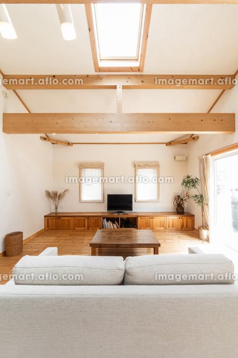 木を使ったデザインの一軒家のリビングの販売画像