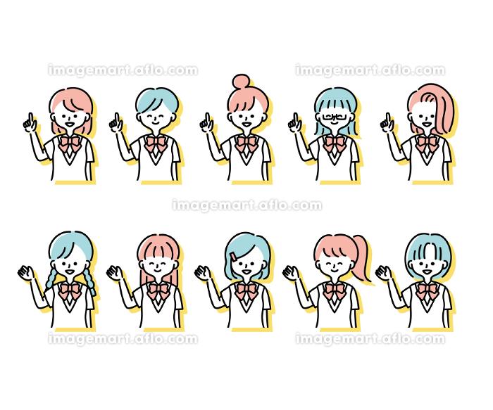 夏の制服を着た様々な女子学生の感情表現イラスト(上半身)の販売画像