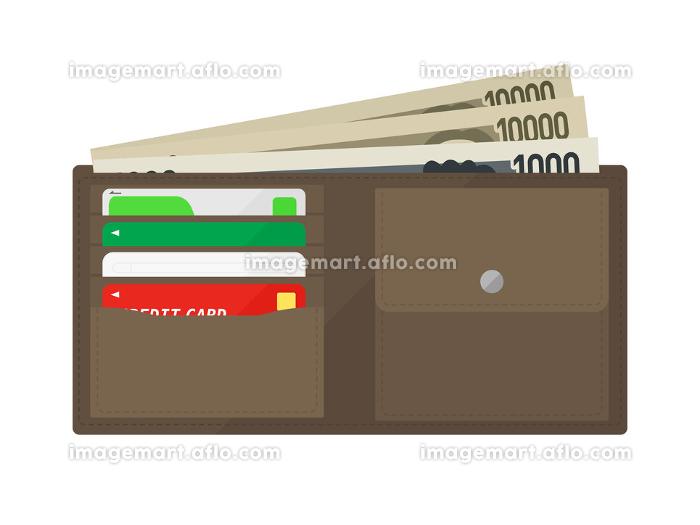 茶色の二つ折り財布のイラストの販売画像
