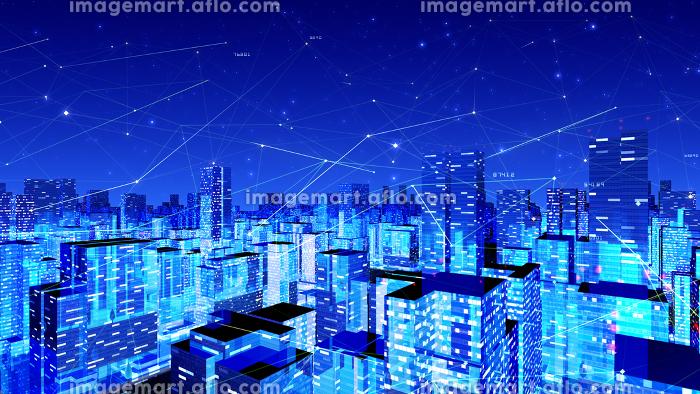 デジタル 都市 街 ネットワーク ビッグデータ テクノロジー 通信 ビル 建物 3D イラスト 背景の販売画像