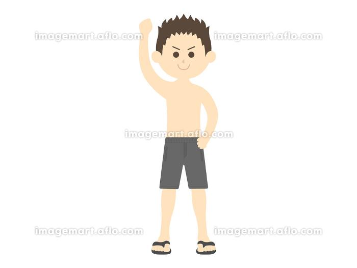 片手を上げた水着男性のイラストの販売画像
