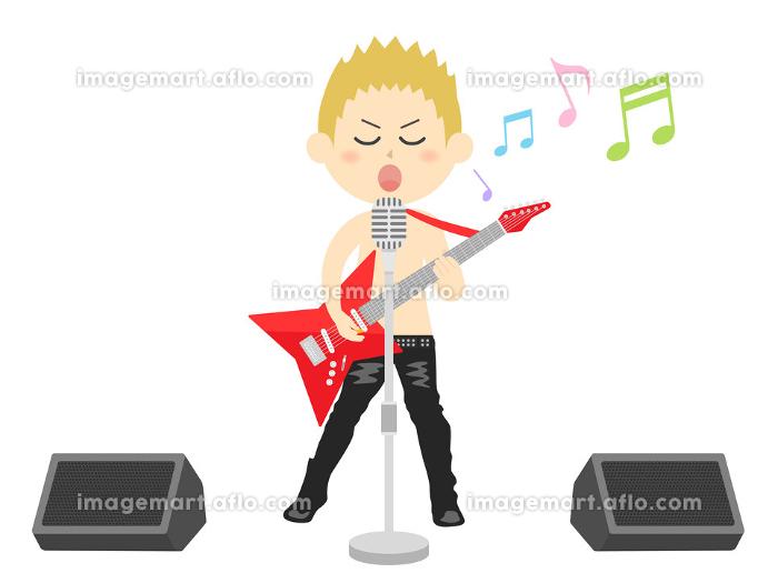 男性ロックミュージシャンのコンサートのイラストの販売画像