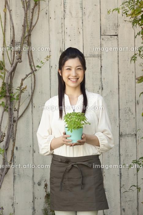 ハーブの鉢を持つ女性の販売画像