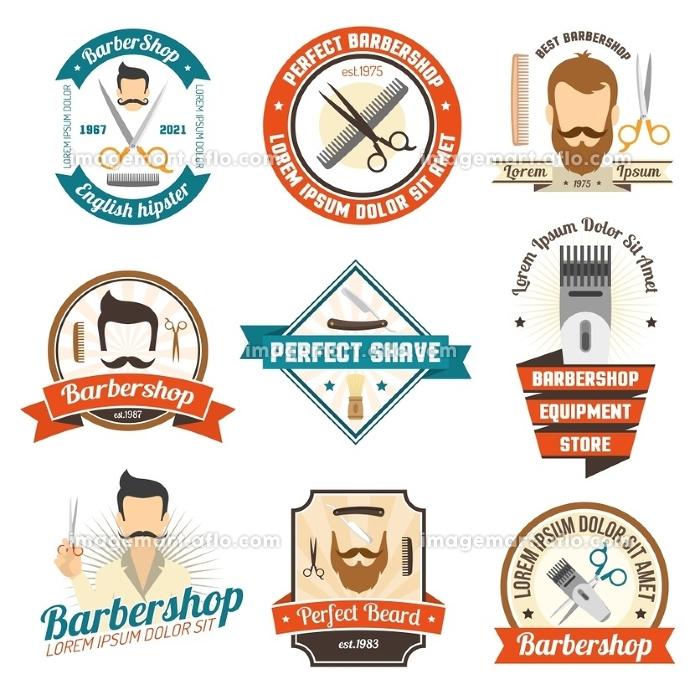 Barber Shop Sign. Collection original color sign of barber shop for emblem or logo with white background isolated vector illustration