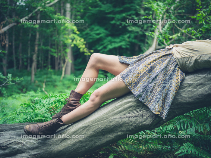 A young woman is lying on a fallen tree in the forest surrounded by ferns