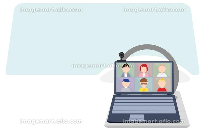 車でテレワークする人のオンラインミーティングのイメージイラストの販売画像