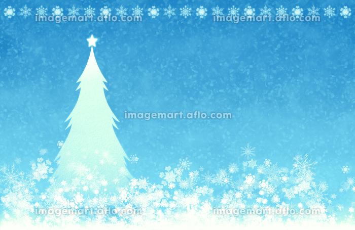 背景素材 雪 クリスマスツリー クリスマス 青の販売画像
