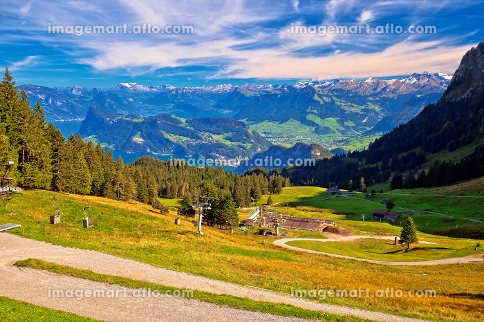 Hillside landscape under Pilatus mountain with Lucerne lake aerial viewの販売画像