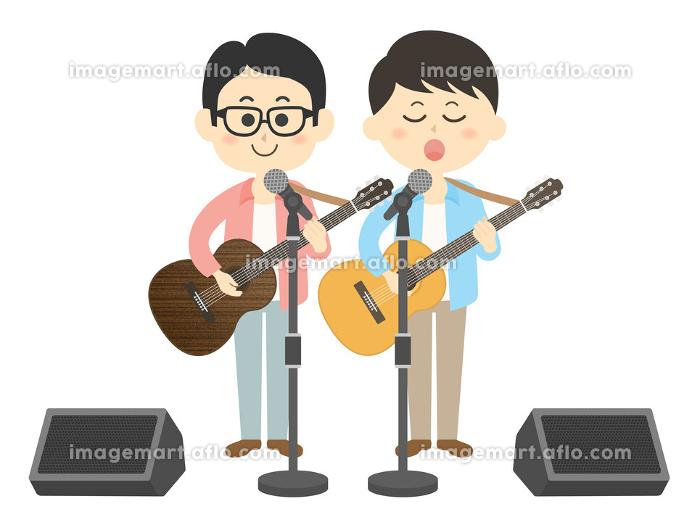 男性ミュージシャンバンドのコンサートのイラストの販売画像