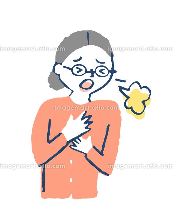 咳をする高齢男性 肺炎