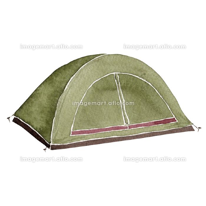 登山 アウトドア キャンプ 道具 アイテム テント 水彩 イラストの販売画像