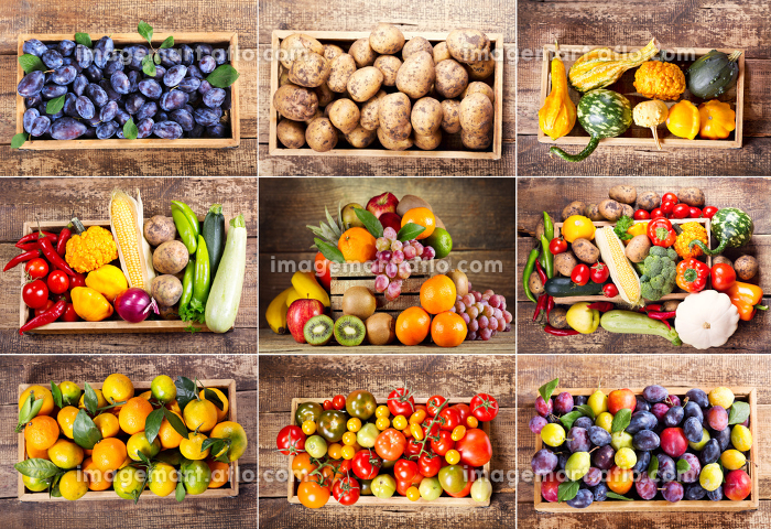 collage of various fruits and vegetables in wooden boxの販売画像
