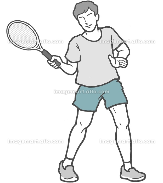 テニス 若い男性 男性の販売画像