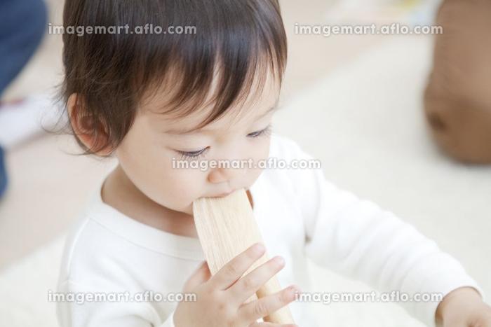 玩具をくわえる男の子の販売画像