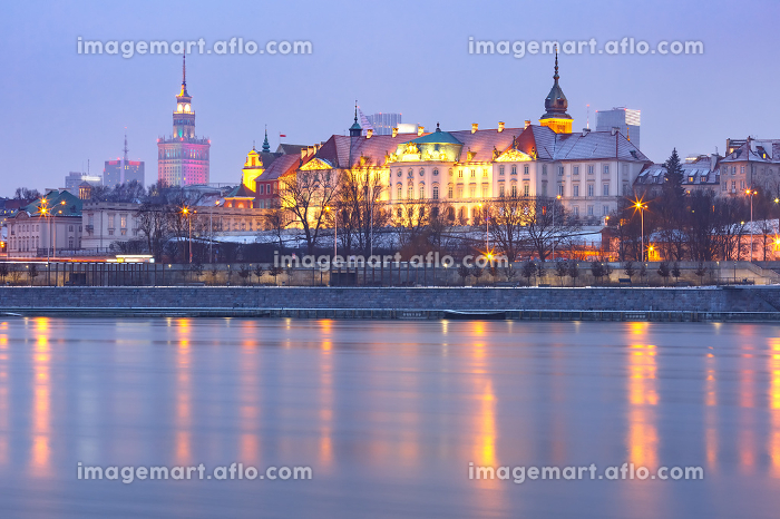 Old Town and river Vistula at night in Warsaw, Poland.
