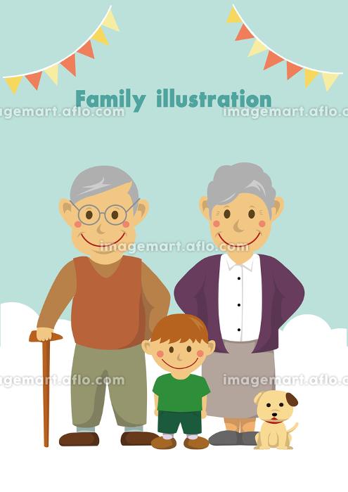 人物イラスト / 孫と祖父母の販売画像
