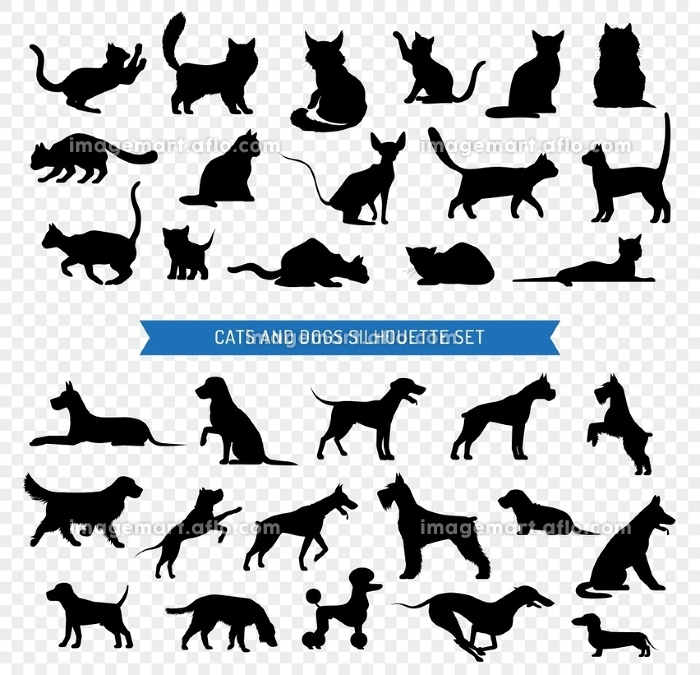 Dogs And Cats Black Silhouette Set. Black silhouette set of different breeds of dogs and cats on transparent background isolated vector illustration